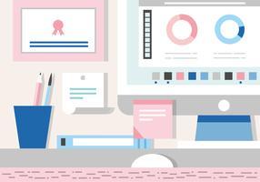 Free Working  Desk Vector Illustration