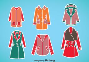 Woman Winter Coat Vector Set