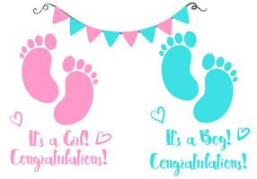 Baby Footprint Birth Announcement Vector