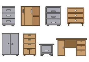 Set Of File Cabinet Vector