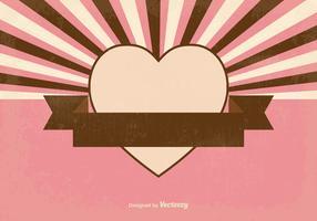 Retro Sunburst Style Heart Background
