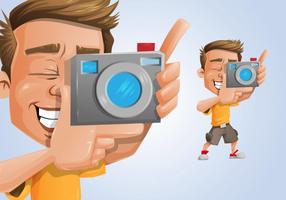 Fotógrafo com uma ilustração da câmera