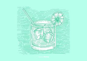 VODKA TONIC LINE DRAWING VECTOR