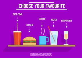 Different Free Vector Drinks And Food