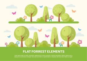 Free Flat Forrest Elements Vector Background