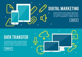 Free Digital Marketing And Data Transfer Vector Background