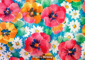 Hand Drawn Retro Colorful Flowers Background
