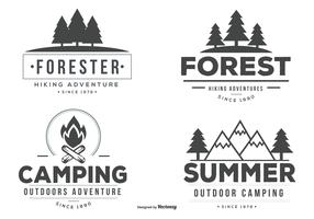 Typographic Camp Label Vectors
