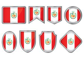 Peru Flag Badge Vectors