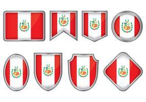 Peru Flag Badge Vectors