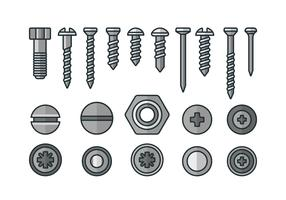 Screws, nuts and rivets icons