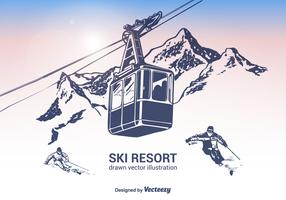 Free Ski Resort Vector Illustration