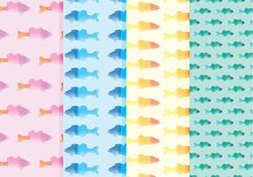 Vector Watercolor Fish Patterns