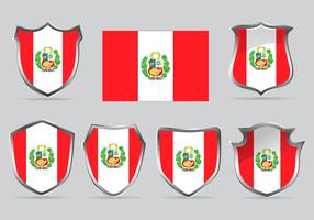 Vector Set Shield of Flag Peru