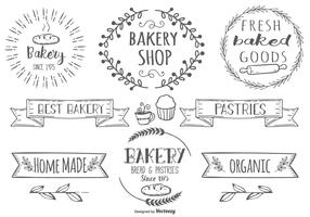 Cute Hand Drawn Style Bakery Label Set