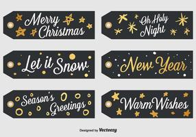 Set Of 6 Black Christmas Labels