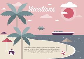 Free Vintage Summer Beach Vector Illustration