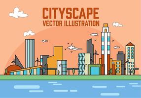 Free Peach Linear City Vector Illustration