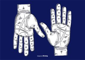 VECTOR ETCHED HANDS - LINE DRAWING