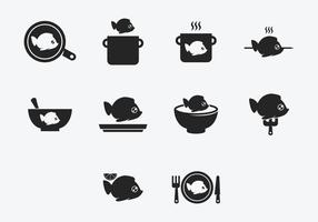 Fish Fry Cook Icon Set