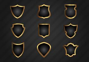 Free Realistic Gold Shield Shapes Vector