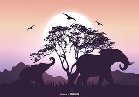 Elephant Silhouette Scene