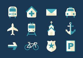 Free Transportation and Sign Icons Vector