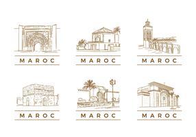 MAROC TOURIST LANDMARK VECTOR
