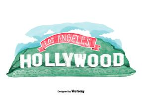 Free Hollywood Sign Watercolor Vector