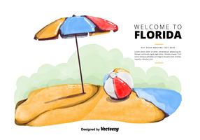 Free Florida Beach Watercolor Vector