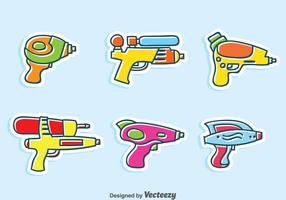 Wter Gun Cartoon Vector Set