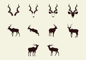 Kudu Silhouette Icon Set