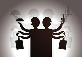 Free Waiter Shadow Puppet Vector Illustration
