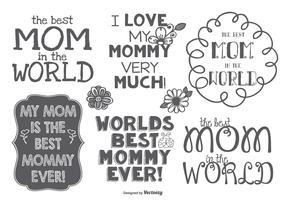 Best Mommy Hand Drawn Label Set