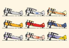 Minimalist Biplane Icon Set