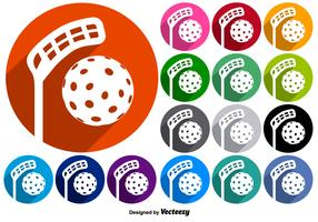 Vector Set Of Buttons With Floorball Icons