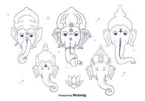Ganesh Line Vector