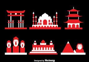 World Landmark Icons Vector
