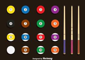 Pool Balls And Stick Vector Set