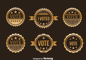 Presidential Election Gold Badge Vector Set