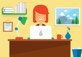 Free Woman Work Space Vector Desk