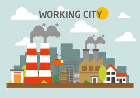Free Industrial City Landscape Vector Illustration