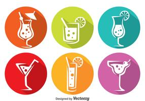 Colorful Cocktail Circle Icons