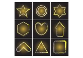 Free Various Shapes of Yellow Gold Neon Star Vector