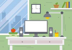 Free Business Workspace Concept Vector Illustration