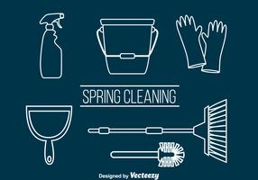 Spring Cleaning Outline Vector