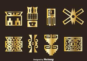 Golden Incas Icons Vector