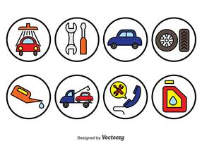 Car Repair Circle Icons