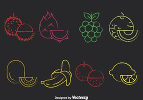 Colorful Fruits Chalk Draw Icons