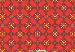 Red Traditional Ornament Tiles Pattern